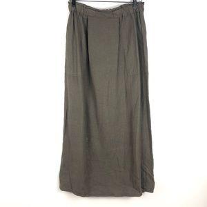 FLAX Brown Linen Paper Bag Waist Maxi Skirt